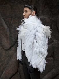 White nagoire feather coat