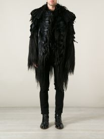 Black human hair and coq and nagoire feather coat